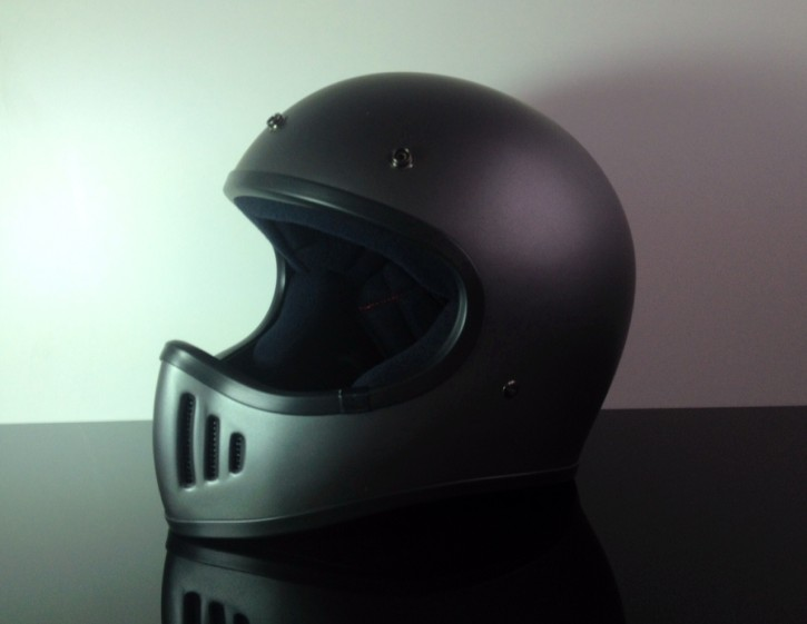 Retro-style CROSS-HELMET, FLATGREY, DOT approved  M