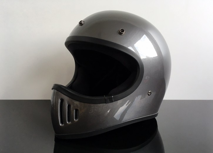 Retro-style CROSS-HELMET, silver grey, DOT approved  S