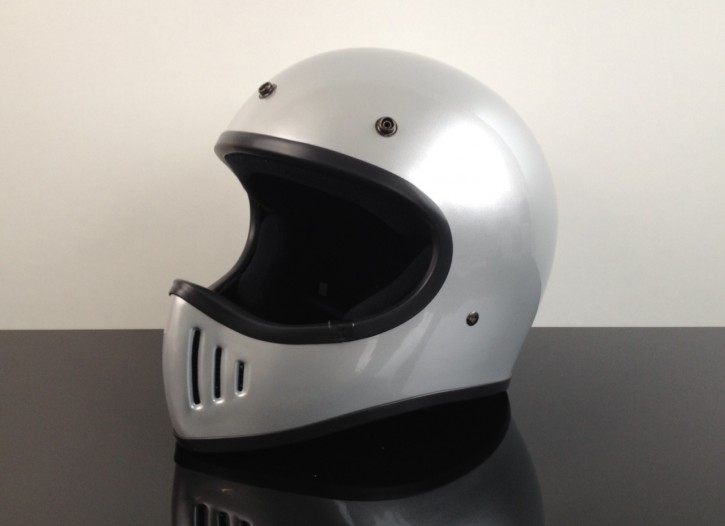 Retro-style CROSS-HELMET, SILVER, DOT approved