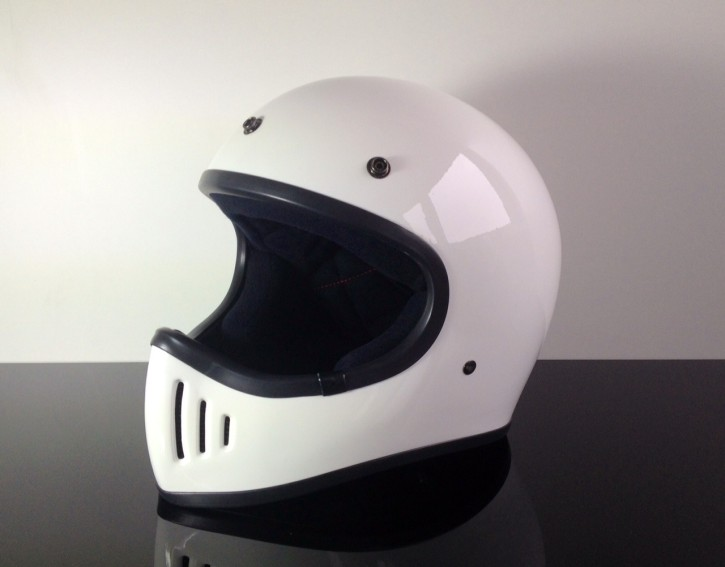 Retro-style CROSS-HELMET, WHITE,  DOT approved  M