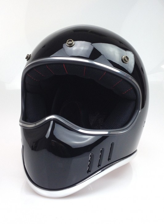 Retro-style CROSS-HELMET, gloss black, DOT approved