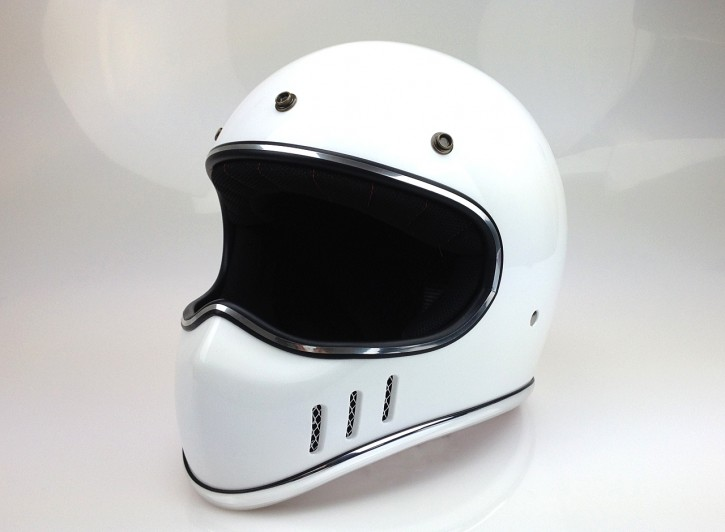 Retro-style CROSS-HELMET, gloss white, DOT approved