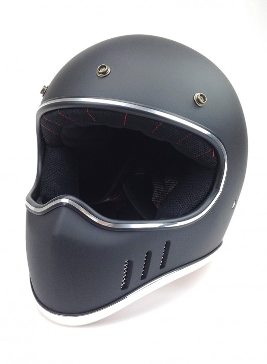 Retro-style CROSS-HELMET, black denim, DOT approved