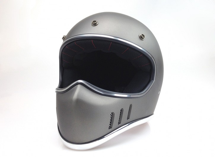 Retro-style CROSS-HELMET, DARK SILVER DENIM, DOT approved