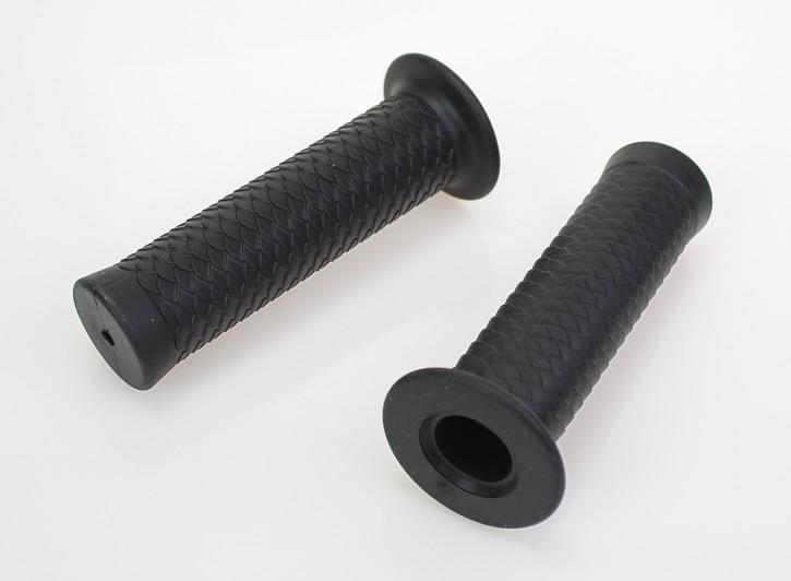 2 Griffe Griffgummis Dragonskin-Style in schwarz für Ø22mm Lenker