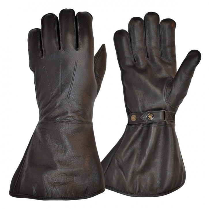 MOTOCYCLE GLOVES, leather with fleece lining, black