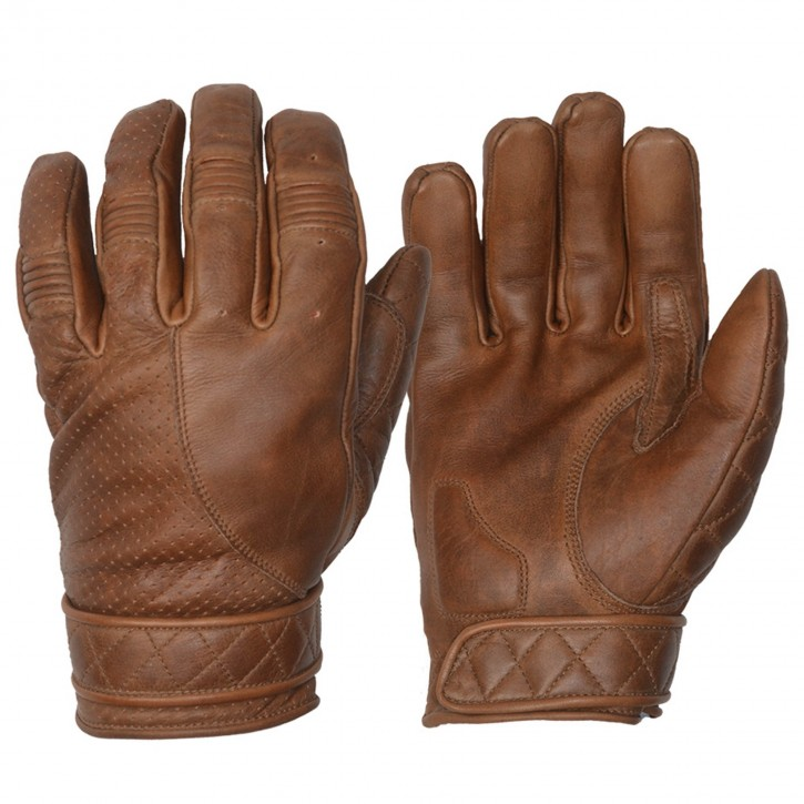 SHORT BOBBER GLOVES, vintage-brown leather with fleece lining