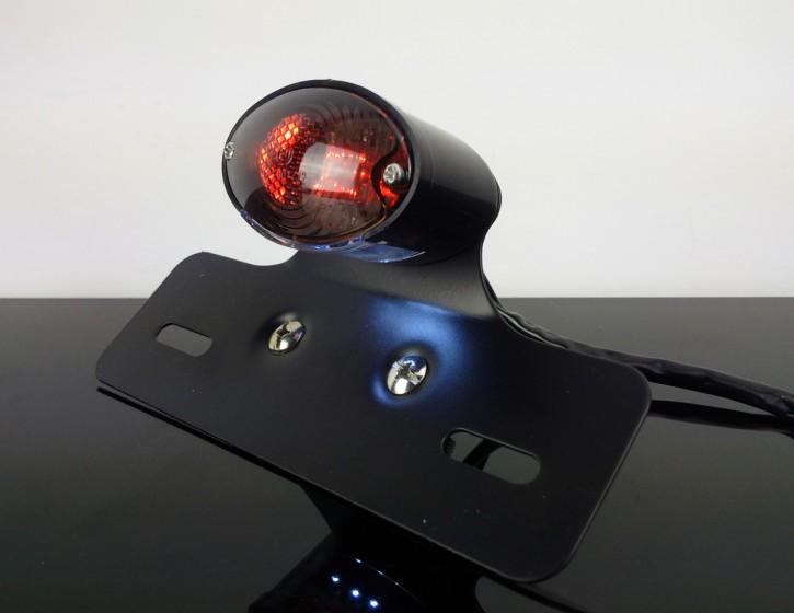 LED RÜCKLICHT Cateye mit HALTER in schwarz, Glas getönt