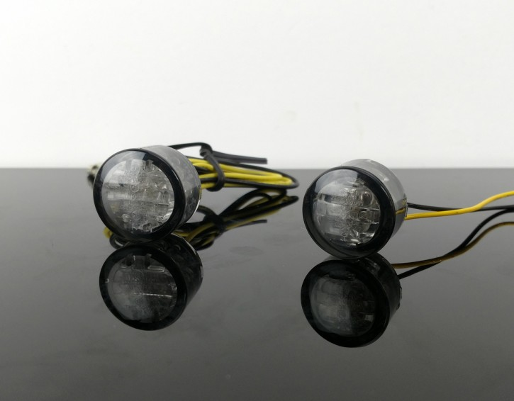 2 small LED-indicators, round, smoked
