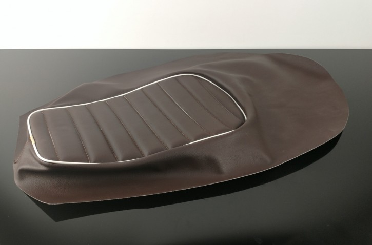 Artificial LEATHER for motorcycle seats, brown with white keder