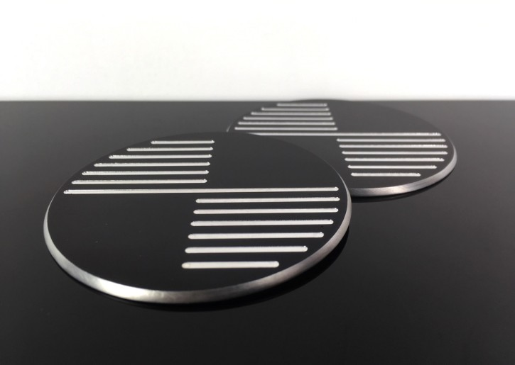2 BADGES / EMBLEMS BMW 70mm, CNC milled