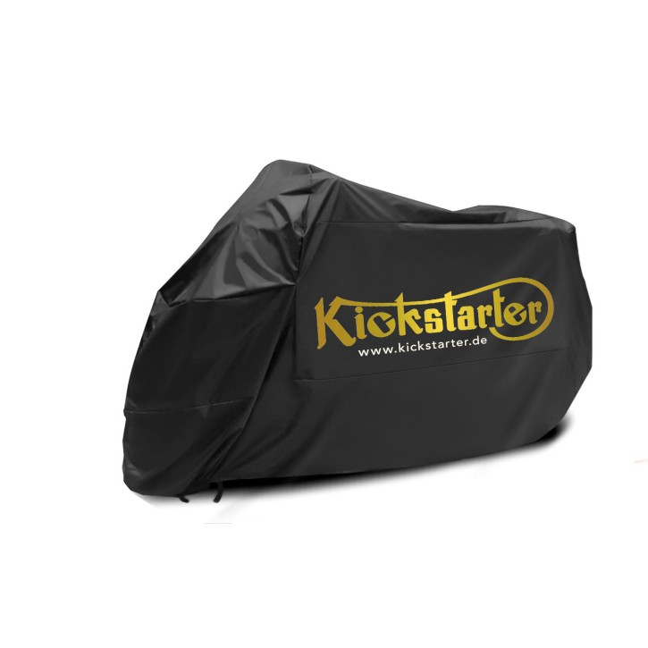 Motorcycle COVER, black, with golden KICKSTARTER logo, large