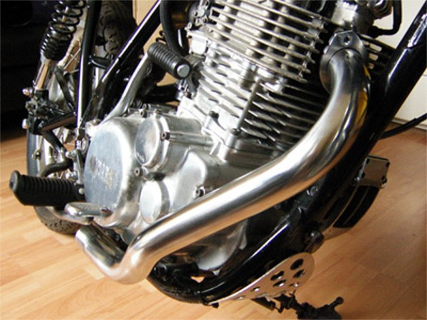 "Downpipe ""Swept back"" YAMAHA SR500, Stainless Steel"