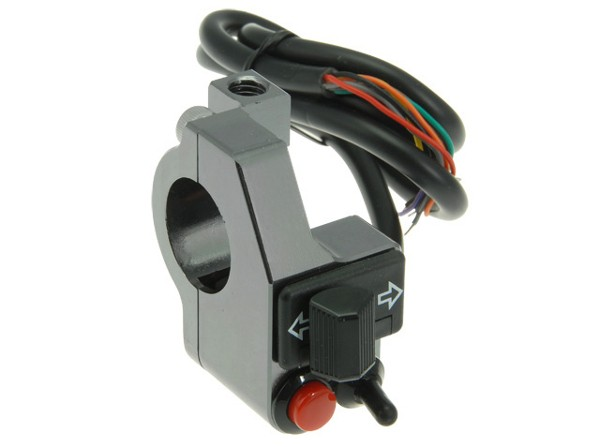 Complete mini alloy CNC switch cluster for 22 mm handlebars, anthrazit