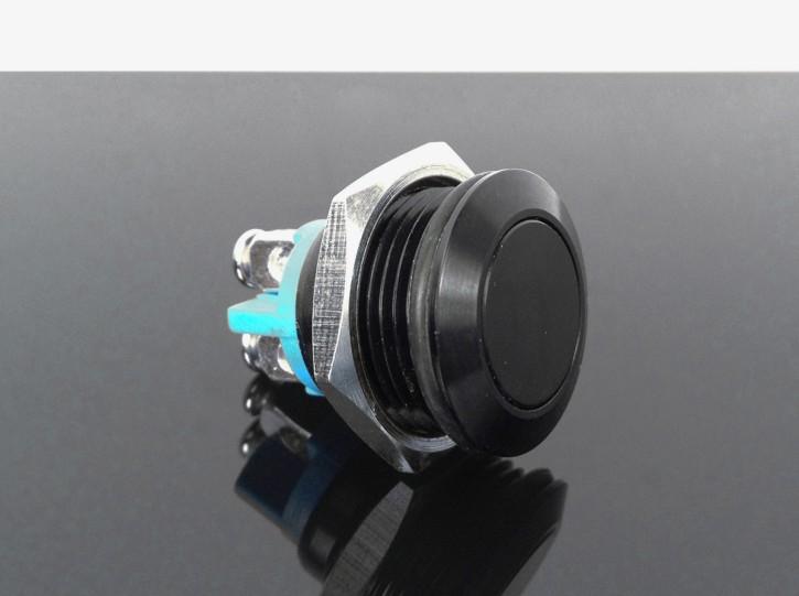 Schwarzer Taster, flach, Einbau-Ø 16mm