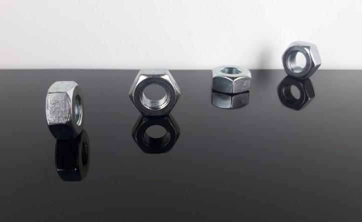 4 Sechskantmuttern, M10x1,25mm Feingewinde, für Blinkerhalter, Spiegel, Scheinwerfer