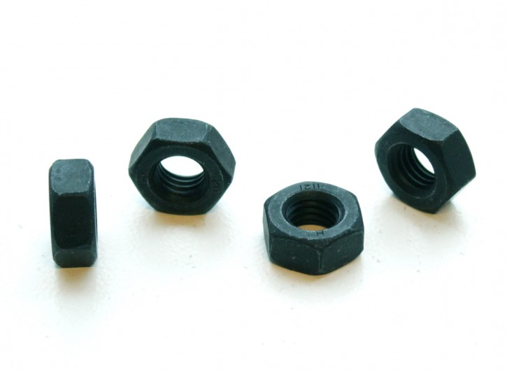 4 HEXAGON NUTS, M10x1,25 mm black, with fine pitch thread