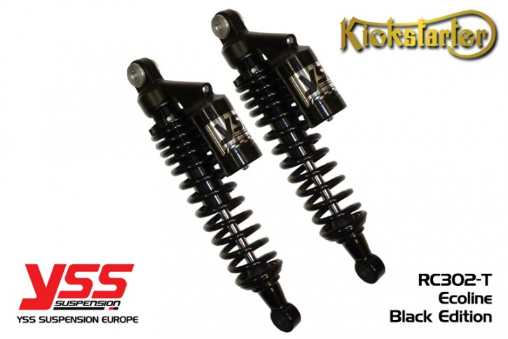 Now available in BLACK: 2 YSS-Shocks, RC302, 280-420mm, aluminium silver