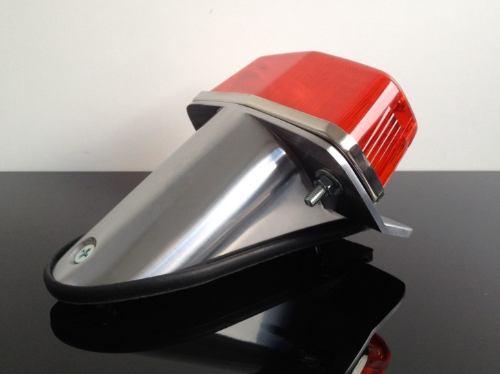 LUCAS-Style taillight + holder, small version, polished alloy