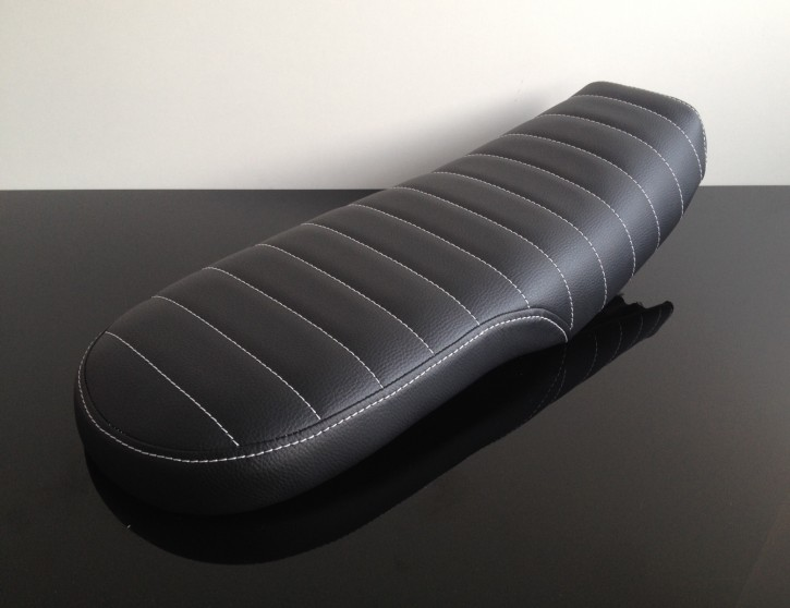 Cafe-Racer-, Scrambler-SITZBANK Honda CX500, schwarz, weiße Nähte