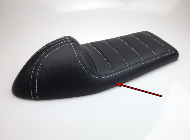 2nd choice: Cafe-Racer SEAT, universal, black leatherette, white stitching