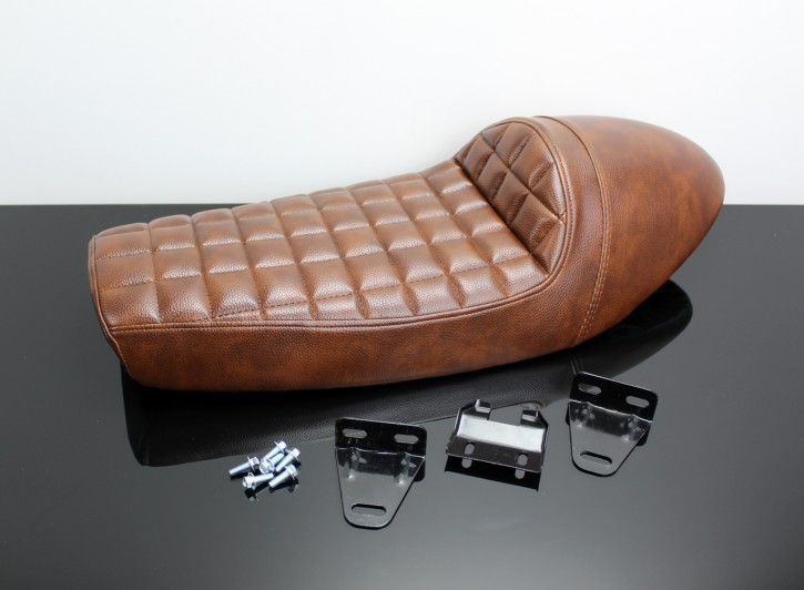 Cafe-Racer SEAT brown with hump and chequered stitching