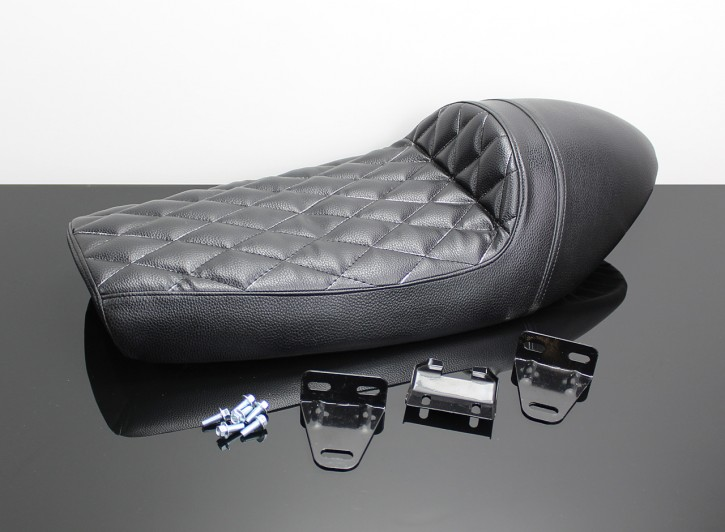 Cafe-Racer SEAT black with hump and Diamond stitching