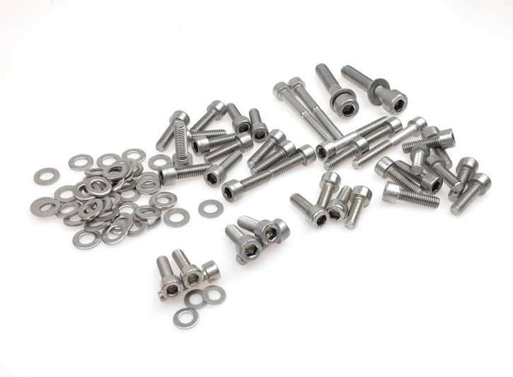 Complete ENGINE SCREW SET for all BMW R-Models, stainless steel
