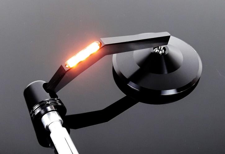 Lenkerendenspiegel, SPIEGEL mit BLINKER, schwarz eloxiertes Aluminium, rund, e-geprüft