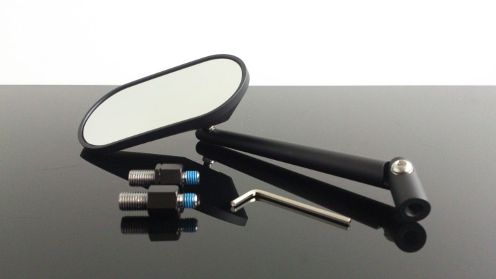 Mirror, oval, black, incl. mounting kit for left-hand thread and right-hand thread