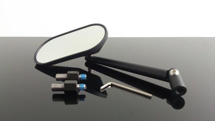 Spiegel, oval, schwarz, inkl. Adapter für Rechts- und Linksgewinde