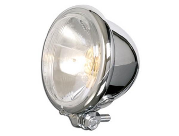 Headlight, Bates style, chrome, 12cm