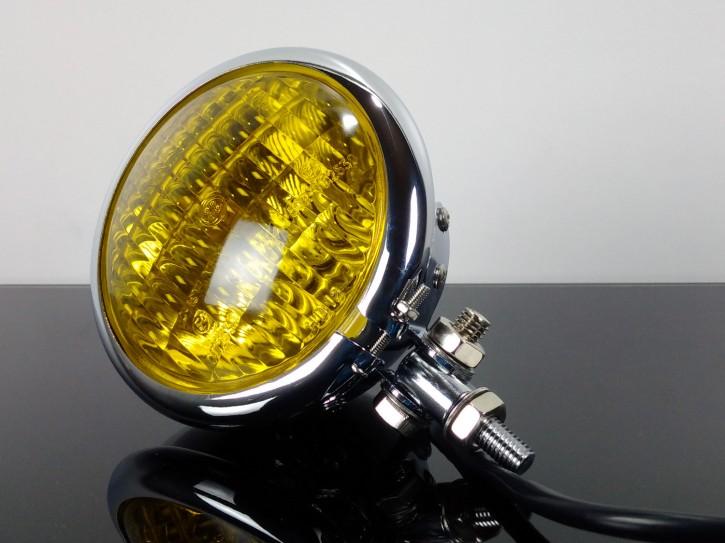 SCHEINWERFER Bates-Style, chrom, Gelbes Glas, 12 cm