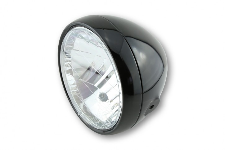 Classic head light / headlamp with clear screen, glossy black