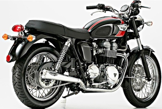 2* SILENCER / exhaust system with catalyzer, f. TRIUMPH Bonneville T100, stainless steel, black painted, w. EG/BE
