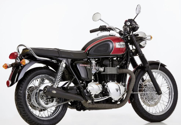 2* SILENCER / exhaust system f. TRIUMPH Bonneville T100, stainless steel, black painted, w. EG/BE