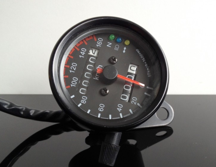 Small Speedometer, 60mm, black, 160km/h, 1,4k with control lights