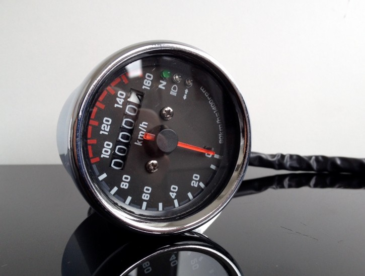 Small Speedometer, 60mm, chrome, 160km/h, 1,4k with control lights