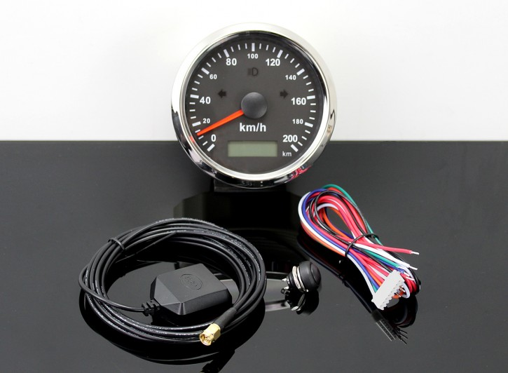 GPS-SPEEDOMETER 0-200km/h with LED-Indicator-Lights, Ø 85mm