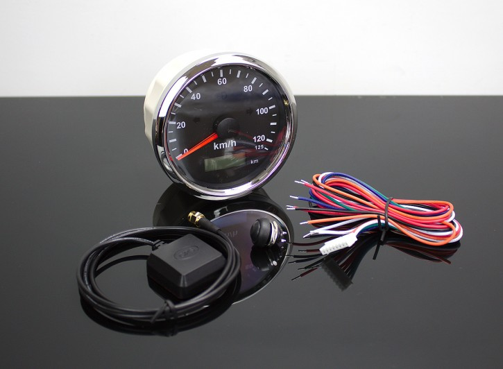 GPS-SPEEDOMETER 0-125km/h with LED-Indicator-Lights, Ø 85mm