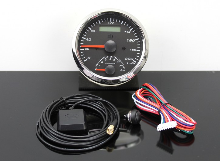 GPS-SPEEDOMETER 0-200km/h with REV COUNTER 0-8000rpm, with LED-Indicator-Lights, Ø 85mm