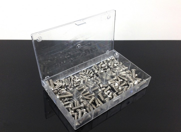 Stainless Steel Lens Head SCREW-SET with Hexagon Socket, metric, 155 pcs.