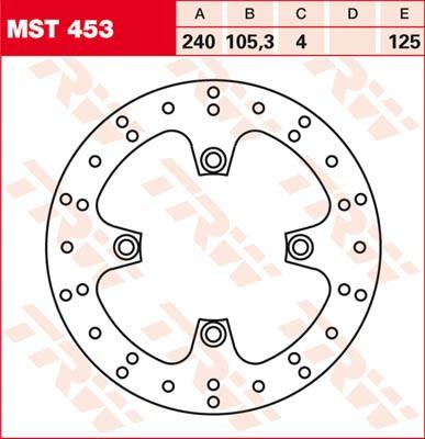 TRW Lucas Brake disc MST453, fixed