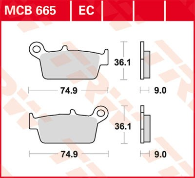 TRW Lucas Disc brake pad MCB665