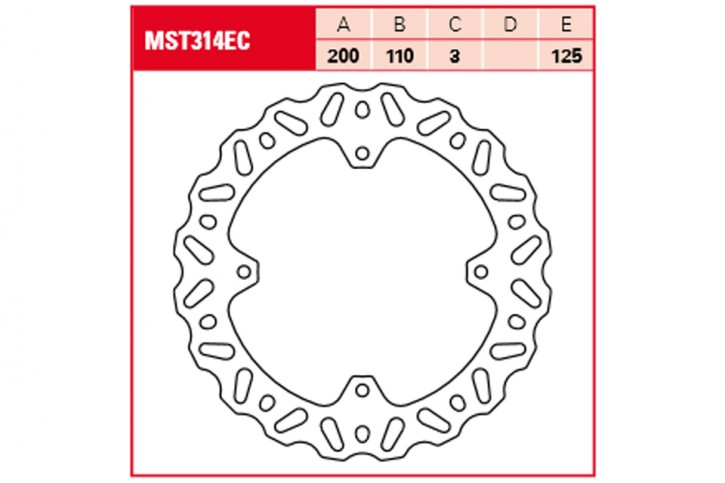 TRW Lucas Brake disc MST314EC in cross design