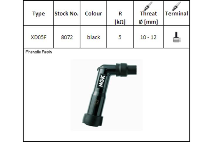 NGK Spark plug connector, XD-05 F, for 12 mm