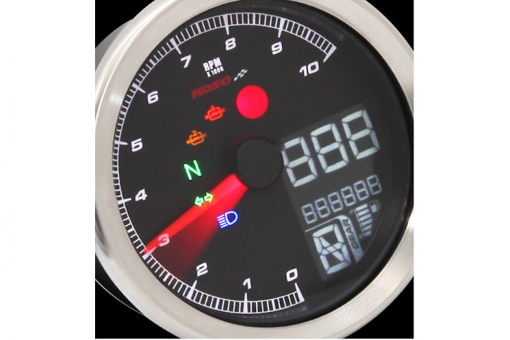 KOSO Digital Multifunction Cockpit, TNT-04 Tachometer/Tachometer with chrome ring