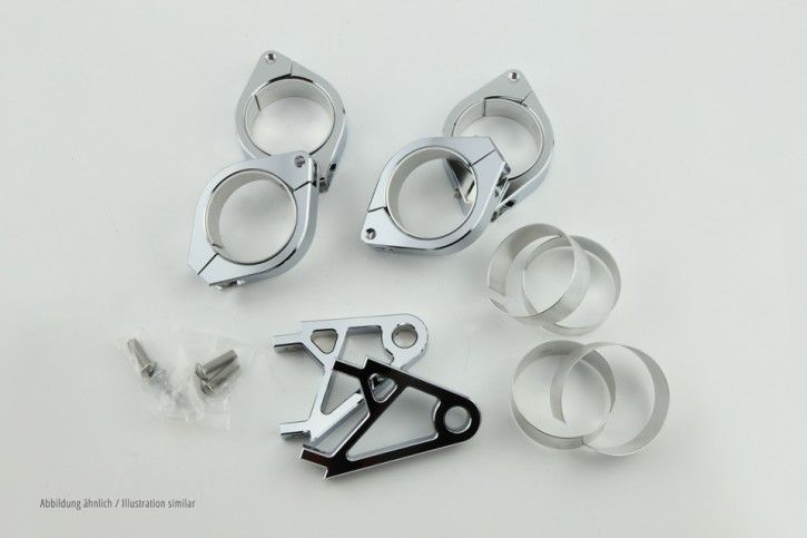 CNC Alu headlamp bracket set XS 38-41 mm, chrome
