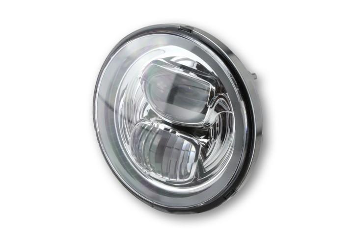 HIGHSIDER LED Hauptscheinwerfereinsatz TYP 7 mit Standlichtring, rund, chrom, 5 3/4 Zoll