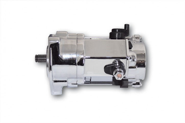 motoprofessional Anlasser, chrom, für div. HD, FLH/FLT/FLST/FXST 94-06, Denso.